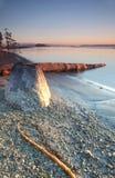 brzegowego wschód słońca zachodni zima Zdjęcie Stock
