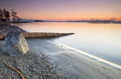 brzegowego wschód słońca zachodni zima Zdjęcia Royalty Free