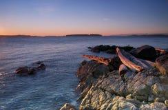 brzegowego wschód słońca zachodni zima Obrazy Stock
