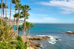 brzegowi California drzewka palmowe Zdjęcia Royalty Free