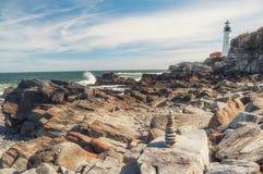 brzegowy Atlantic ocean Latarnia morska na brzeg maine portland zdjęcia royalty free