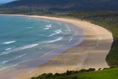 brzegowy nowy Zealand Plaża Tautuku zatoka od Florencja wzgórza punktu obserwacyjnego Catlins, Południowa wyspa, Nowa Zelandia zdjęcie stock