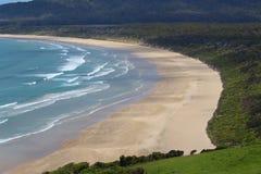brzegowy nowy Zealand Plaża Tautuku zatoka od Florencja wzgórza punktu obserwacyjnego Catlins, Południowa wyspa, Nowa Zelandia zdjęcia stock