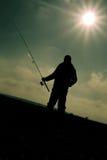 brzegowy wieczór rybaka jezioro Obrazy Stock