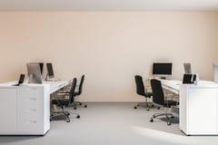Brzoskwini ścienny biurowy wnętrze, komputerowi biurka royalty ilustracja