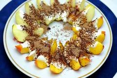 Brzoskwini i jabłka deser Obraz Stock