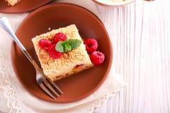 Brzoskwini i malinki streusel tort Obrazy Royalty Free