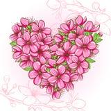 Brzoskwini okwitnięcie w formie serca ilustracji