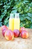 Brzoskwini smoothies i świeże nektaryny Pojęcie dieta, detox, weganin Obrazy Stock