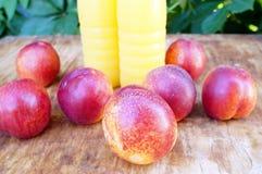 Brzoskwini smoothies i świeże nektaryny Pojęcie dieta, detox, weganin Zdjęcie Stock