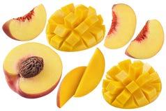 Brzoskwinia mango ustawiający odizolowywającym na białym tle Zdjęcia Royalty Free