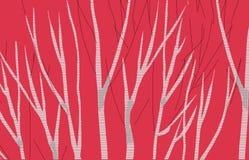 Brzoza abstrakta 3 czerwieni wizerunek robi nowemu imaginacyjnemu krajobrazowi ilustracja wektor