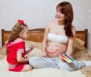 brzuch córka jej macierzysty obraz s Obraz Royalty Free