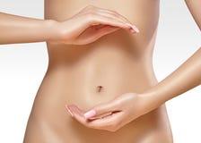 brzuch piękna kobieta Ładna kobieta dba żołądek Opieka zdrowotna, przetrawienie, jelitowy zdrowie Wellness, zdrój ciało panna mło Zdjęcia Stock