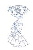 Brzucha tancerza postaci gesta nakreślenia kreskowy rysunek Fotografia Stock