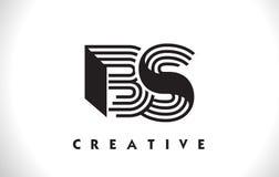 BS Logo Letter With Black Lines Design. Line Letter Vector Illus stock illustration