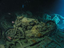 BSA motocycle inside of  Thist. BSA motorcycle inside of cargo hole in Thistlegorm wreck, Red Sea, Egypt Stock Images