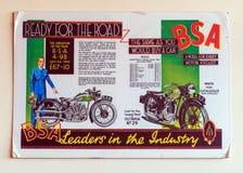 1934 BSA O H V Vee Twin Motorcycle Wall Poster stock afbeeldingen