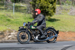 1930 BSA S30 Motorcycle on country road Stock Photo
