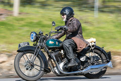 1935 BSA Sloper Motorcycle on country road. Adelaide, Australia - September 25, 2016: Vintage 1935 BSA Sloper Motorcycle on country roads near the town of Royalty Free Stock Photos
