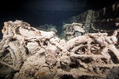 BSA WDM 20 motorcycles in the SS Thistlegorm. Stock Photography