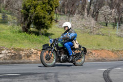 1947 BSA XB 31 350cc Motorcycle on country road. Adelaide, Australia - September 25, 2016: Vintage 1947 BSA XB 31 350cc Motorcycle on country roads near the town Stock Image