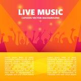 Bsckground концерта живой музыки Толпа на фестивале также вектор иллюстрации притяжки corel Стоковые Изображения