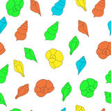 BSeamless vector pattern with bright seashells on the white background Stock Photo