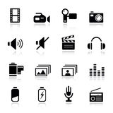 Básico - iconos de los media Foto de archivo