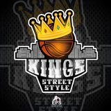 Bsketball ball with golden crown and city behind. Sport logo for any streetball team. Or competition vector illustration