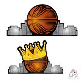 Bsketball ball with golden crown and city behind. Sport logo for any streetball team or competition isolated. On white vector illustration