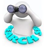 Búsqueda - hombre con los prismáticos Foto de archivo libre de regalías