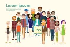 Búsqueda étnica Job Umployment de los empresarios de la raza de la mezcla de la muchedumbre casual de la gente del grupo Imagen de archivo