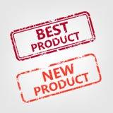 Bäst produkt och rubber stämpel för ny produkt Fotografering för Bildbyråer