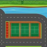 Bästa sikt av tennisbanor Arkivbild