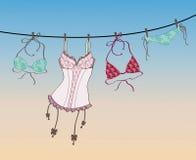 Büstenhalter und Wäsche, die am Seil hängen Lizenzfreies Stockbild