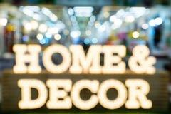 Bstract empañó el fondo casero de la expo de las compras de la decoración de los muebles imagenes de archivo