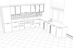 Bstract sketch design interior kitchen Stock Photography