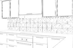 Bstract sketch design interior kitchen Royalty Free Stock Photos
