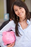 Bsuiness woman with piggy bank Royalty Free Stock Photos
