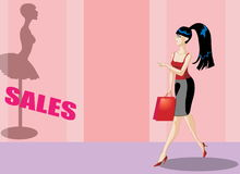 Bsuiness woman shopping. Fashionable business woman shopping spotting sales opportunity royalty free illustration