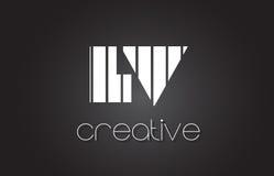 BT L lettre Logo Design With White de V et lignes noires Photographie stock libre de droits