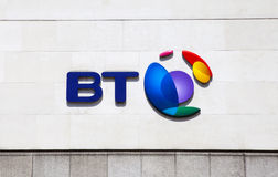 BT Sign. LONDON, UK - JUNE 18TH 2015: The BT Logo located on their headquarters in Newgate Street, London on 18th June 2015 Stock Image