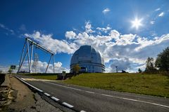 The BTA. Large Altazimuth Telescope Optical telescope at the Special Astrophysical Observatory royalty free stock images