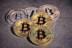 BTC Bitcoin coins. Shining metal BTC bitcoin and litecoin coins on grey background Stock Image