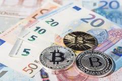 BTC Bitcoin and Euro bank notes Stock Image