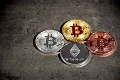 BTC and ETH, Bitcoin and Ethereum coins Stock Image