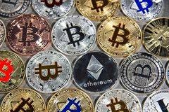 BTC and ETH, Bitcoin and Ethereum coins Stock Images