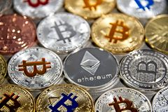 BTC and ETH, Bitcoin and Ethereum coins Royalty Free Stock Photo