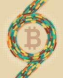 Btcoin-Symbol und Weinlesehintergrund Stockfoto